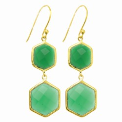 """Sterling Silver Yellow Finish Shiny Octagon 2 Drop Earring with 2 Green Onex-Ch Ecker Stone """" Collection"""""""