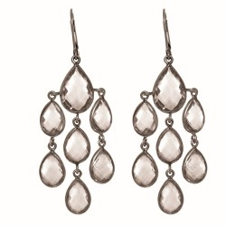 "Sterling Silver with Black Finish Shiny Fancy Drop Earring with 20-Oval Shape Ro Ck Crystal "" Stone Collection"""