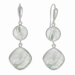 "Sterling Silver with Rhodium Finish Fancy Drop Earring with Round Green Rutilate D Quartz "" Stone Collection"""