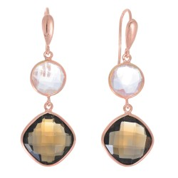 "Sterling Silver with Rose Finish Fancy Drop Earring with Round Smokey Pink Amy "" Stone Collection"""
