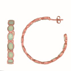 Sterling Silver with 0.5 Micron Rose Gold Finish with E-Coating Earring with 9.60Ct Aqua Chalcedonny