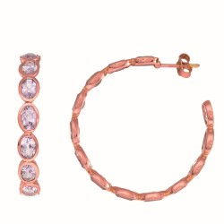 Sterling Silver with 0.5 Micron Rose Gold Finish with E-Coating Earring with 10.10Ct Pink Amethyst