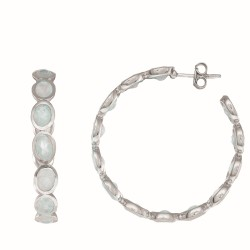 Sterling Silver with White Rhodium Finish Earring with 10.60Ct Rainbow Moon Stone