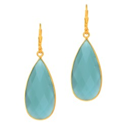 Silver with Yellow Finish Tear Drop Earring with Brolite Aqua Chalcedony Leverback Clasp