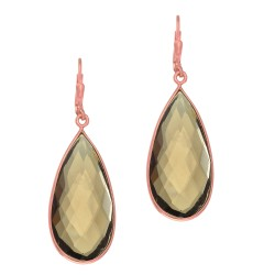 Silver with Pink Finish Tear Drop Earring with Brolite Smokey Quartz Leverback Clasp