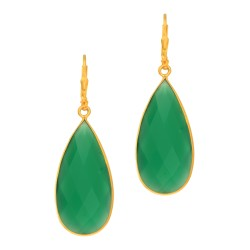 Silver with Yellow Finish Green Onyx-Pear Brolite Drop Earring with Lever Back Clasp