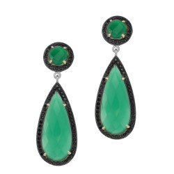 Silver with Rhodium Finish Pear Round Green Onyx S Surround Ed with Blue Shapphire Drop Earring with Butterfly Clasp