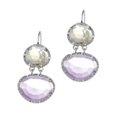 Silver with Rhodium Finish 10.9X9.2mm Pink Quartz Amethyst Leverback Drop Earring Trimmed with 0.15Ct. White Diamond