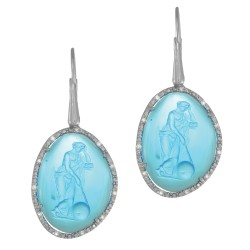 Silver with Rhodium Finish 20.7X15.6mm Blue Glass Cameo Leverback Drop Earring with 0.11Ct.White Diamond