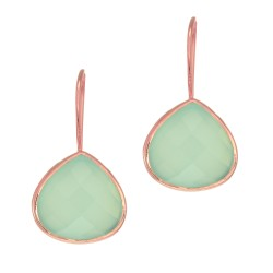 "Silver with Rose Finish Shiny 15.7X28mm Aqua Chalc Edony Teardrop Earring with ""J"" Hook"