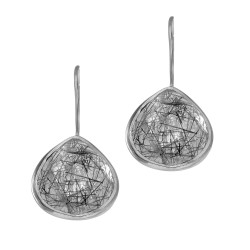 """Silver with Lite Ruthenium Finish Shiny 15.7X28mm Black Rutile Teardrop Earring with """"J"""" Hook"""