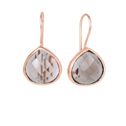 "Silver with Rose Finish Shiny 15.7X28mm Smokey Qua Rtz Teardrop Earring with ""J"" Hook"