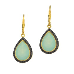 Silver with Yellow Finish Shiny 14.0X35.0mm Aqua C Halcedony Teardrop Leverback Earring Trimmed with Black Rutile