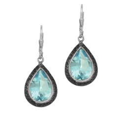 Silver with Rhodium Finish Shiny 14.0X35.0mm Blue Topaz Teardrop Leverback Earring Trimmed with Black Rutile