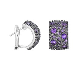 Silver with Rhodium Black Rhodium Finish 17X11mm S Hiny with 1.9Ct.Amethyst Half Moon Type Omegaback Fancy Earring