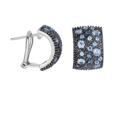 Silver with Rhodium Black Rhodium Finish 17X11mm S Hiny with 1.9Ct.Blue Topaz Half Moon Type Omegabac K Fancy Earring