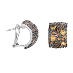 Silver with Rhodium Black Rhodium Finish 17X11mm S Hiny with 1.9Ct.Citrine Half Moon Type Omegaback F Ancy Earring