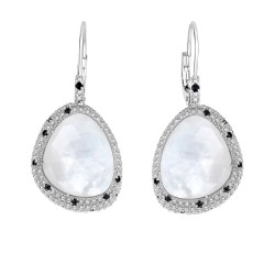 Silver with Rhodium Finish with 15.4X13.1mm 13Ct.D Oublet Milky Quartz Mother Of Pearl 1.5mm Round Cu T Semiprecious 0.6Ct.Black Spinel Teardrop Type Fa