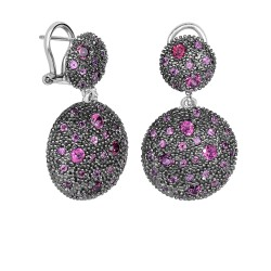 Silver with Rhodium Black Rhodium Finish 32X19mm S Hiny Rhodolite 2 Graduated Circle Omegaback Fancy Drop Earring