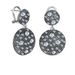 Silver with Rhodium Black Rhodium Finish 32X19mm S Hiny Blue Topaz Graduated Circle Omegaback Fancy Drop Earring