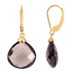 Silver with Yellow Finish Shiny 15mm Faceted Smoke y Quartz Teardrop Fancy Leverback Earring