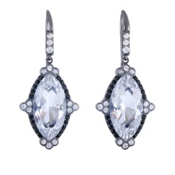 Silver with Black Rhodium Finish 37x16mm Fancy All Black Marquis Shape Drop Earring with Euro Wire C lasp with 11.63ct White Gemstone
