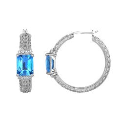 Silver with Rhodium Finish 25x8.3mm Shiny 10x8mm O CT Checkerboard Light Swiss Blue Topaz 1.5mm Round White Sapphire Textured Fancy Designer Hoop Earri
