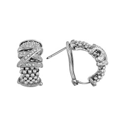 Silver with Rhodium Finish 18x5mm Popcorn Textured Half Moon Post Earring with 0.15ct.Diamond with Omega Clasp