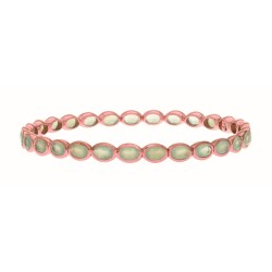 Sterling Silver with 0.5 Micron Rose Gold Finish with E-Coating Bangle with 10.90Ct Aqua Chalcedony