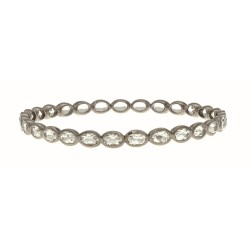 Sterling Silver with Black Rhodium Finish Bangle with 14.3Ct Crystal