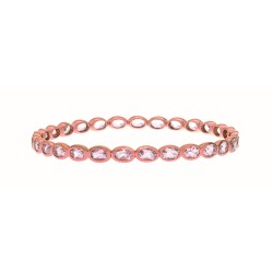 Sterling Silver with 0.5 Micron Rose Gold Finish with E-Coating Bangle with 12.70Ct Pink Amethyst