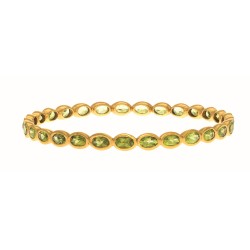 Sterling Silver with 0.5 Micron Yellow Gold Finish with E-Coating Bangle with 14.90Ct Peridot