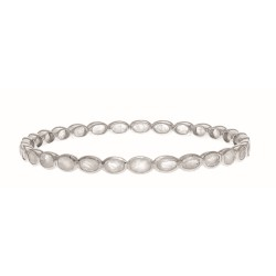 Sterling Silver with White Rhodium Finish Bangle with 13.70Ct Rainbow Moon Stone