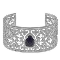 Silver with Rhodium Finish Shiny Teardrop 10X14mm Black Onyx White Sapphire On 32.7mm Cuff Bangle with Fleur De Lis Heart Type Pattern