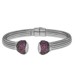 Silver with Rhodium Finish Shiny Rodolite Pink Ele Ment Tip On 7.9mm Tube Type Adjustable Cuff Bangle