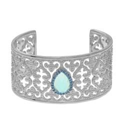 Silver with Rhodium Finish Shiny Teardrop 10X14mm Blue Topaz Blue Sapphire On 32.7mm Cuff Bangle with Fleur De Lis Heart Type Pattern