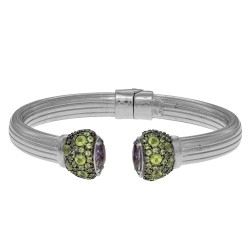 Sterling Silver with Rhodium Finish 8-14mm Shiny Soft Ridged Domed Tube Cuff Bangle with Marquis Shaped Amethyst Round Green Amethyst Embedded Cuff