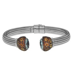 Sterling Silver with Rhodium Finish 8-14mm Shiny Soft Ridged Domed Tube Cuff Bangle with Marquis Shaped Blue Topaz Round Citrine Embedded Cuff