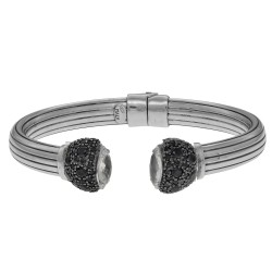 Silver with Rhodium Finish Shiny Rose Quartz Black Spinel Element Tip On 7.9mm Tube Type Adjustable Cuff Bangle