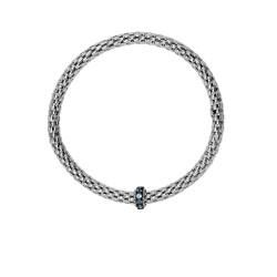 Silver with Rhodium Black Rhodium Finish 8-4.5mm S Hiny Stretchable Popcorn Bracelet with 2mm Round C Ut Semiprecious 0.4Ct.Blue Topaz Barrel Element