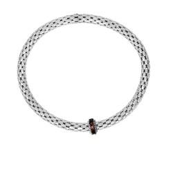 Silver with Rhodium Black Rhodium Finish 8-4.5mm S Hiny Stretchable Popcorn Bracelet with 2mm Round C Ut Semiprecious 0.4Ct.Garnet Barrel Element
