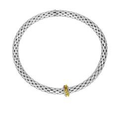 Silver with Rhodium Finish 8-4.5mm S Hiny Stretchable Popcorn Bracelet with 2mm Round C Ut Semiprecious 0.4Ct.Citrine Barrel Element