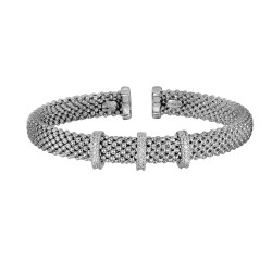 Silver with Rhodium Finish 7mm Popcorn Textured Cuff Bangle with 3 Bar Stations with 1mm Total 0.09ct. Diamond