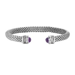 Silver Rhodium Finish Shiny 6.6mm Popcorn Cuff Bangle with Semi-Precious Amethyst Surrounded with 0.14ct.Diamonds