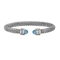 Silver Rhodium Finish Shiny 6.6mm Popcorn Cuff Bangle with Semi-Precious Blue Topaz Surrounded with 0.14ct.Diamonds
