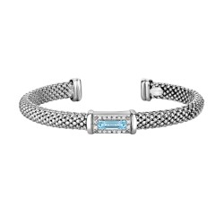 Silver Rhodium Finish Shiny 7.7mm Popcorn Cuff Ban gle with Baguette Semi-Precious Blue Topaz Surrounded with 0.16ct.Diamonds