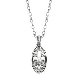 """0.3Ct. Diamond Sterling Silver Oval Fleur De Lis Pendant. Chain Sold Separately. """"Fleur-De-Lis"""" Collection."""