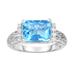 Silver Rhodium Finishwoven Ring With Large Rectangular Light Swiss Blue Topaz And White Sapphire