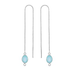Silver with Rhodium Finish Shiny Threader Drop Ear ring with Aqua Chalcedony-Cut