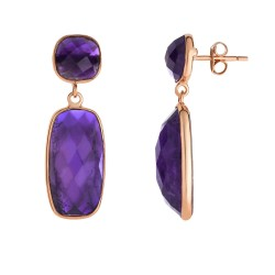 Silver with Pink Finish Shiny Drop Earring with Pu sh Back Clasp with Amethyst-Checker